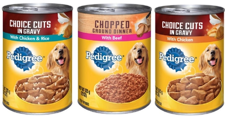 Variety of Pedigree Wet Dog Foods