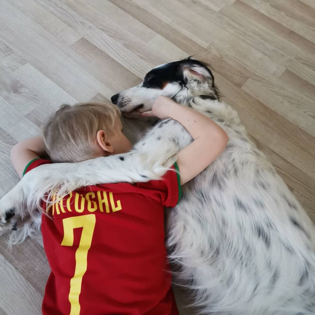 English Setter Sleeping With A Child.