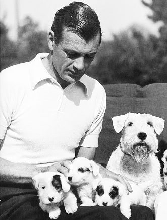 Gary Cooper with his pet