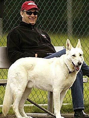 Tom Hanks with her White German Shepherd