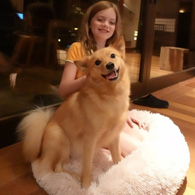 A girl and Finnish Spitz sitting