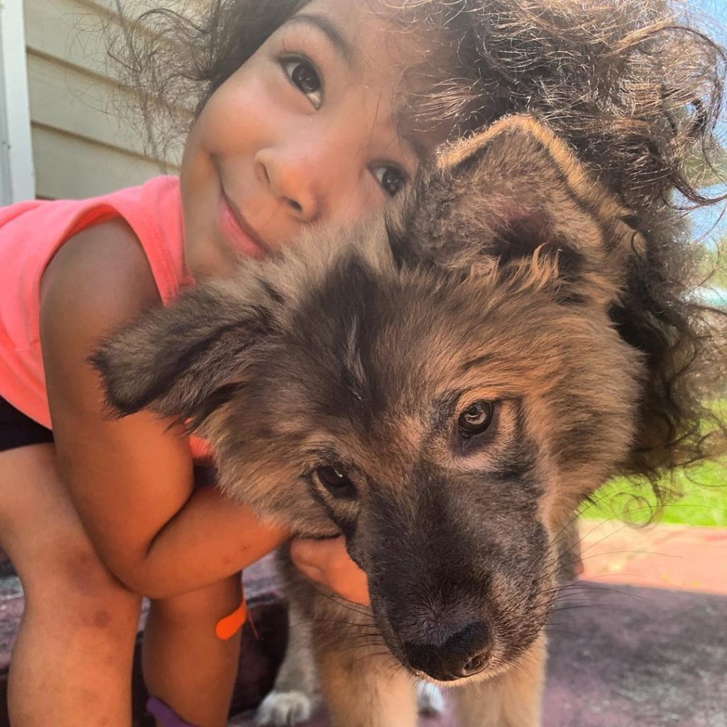 A baby hugging Tamaskan puppy