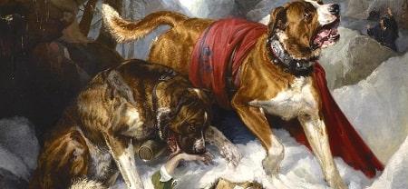 A painting of two Alpine Mastiffs.