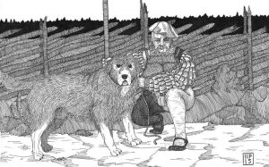 A sketch of a Dalbo Hound with his master.